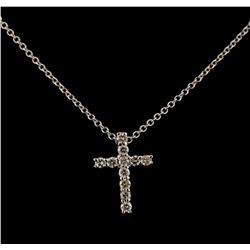 0.31 ctw Diamond Cross Pendant With Chain - 14KT White Gold