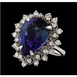 7.60 ctw Tanzanite and Diamond Ring - 14KT White Gold