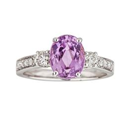 2.93 ctw Kunzite and Diamond Ring - 14KT White Gold