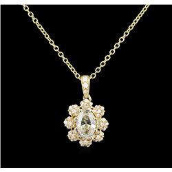 1.36 ctw Diamond Pendant With Chain - 14KT Yellow Gold