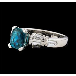 3.12 ctw Blue Zircon and Diamond Ring - Platinum