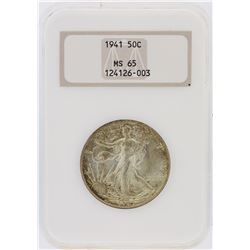1941 NGC Graded MS65 Walking Liberty Half Dollar Silver Coin