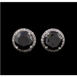 3.79 ctw Black Diamond Stud Earrings - 14KT White Gold