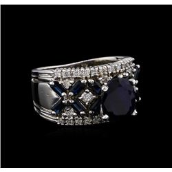 14KT White Gold 3.26 ctw Sapphire and Diamond Ring