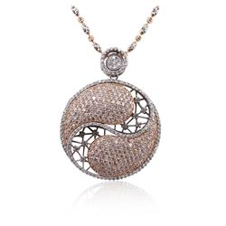14KT Two-Tone Gold 3.88 ctw Diamond Pendant With Chain