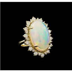 17.70 ctw Opal and Diamond Ring - 14KT Yellow Gold