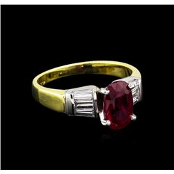 1.99 ctw Ruby and Diamond Ring - 18KT Two-Tone Gold