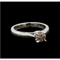 14KT White Gold 0.67 ctw Round Cut Fancy Brown Diamond Solitaire Ring