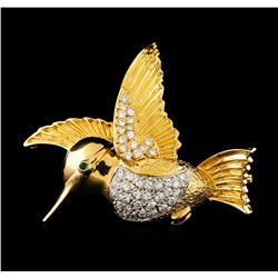 0.41 ctw Diamond Brooch/Pendant - 18KT Yellow Gold