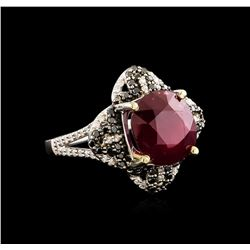 14KT White Gold 6.87 ctw Ruby and Diamond Ring