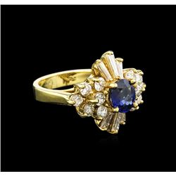 1.21 ctw Blue Sapphire and Diamond Ring - 14KT Yellow Gold