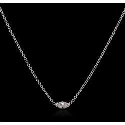 14KT White Gold 0.15 ctw Diamond Solitaire Necklace