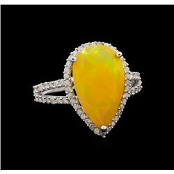 2.99 ctw Opal and Diamond Ring - 14KT White Gold