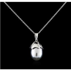 0.27 ctw Pearl and Diamond Pendant With Chain - 14KT White Gold