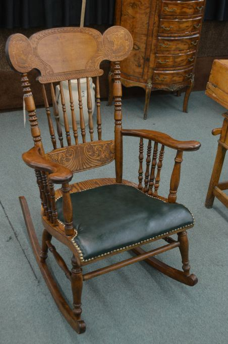 Image 1 : Antique pressed back rocking chair with double lion's head  decoration, spindle supports ... - Antique Pressed Back Rocking Chair With Double Lion's Head