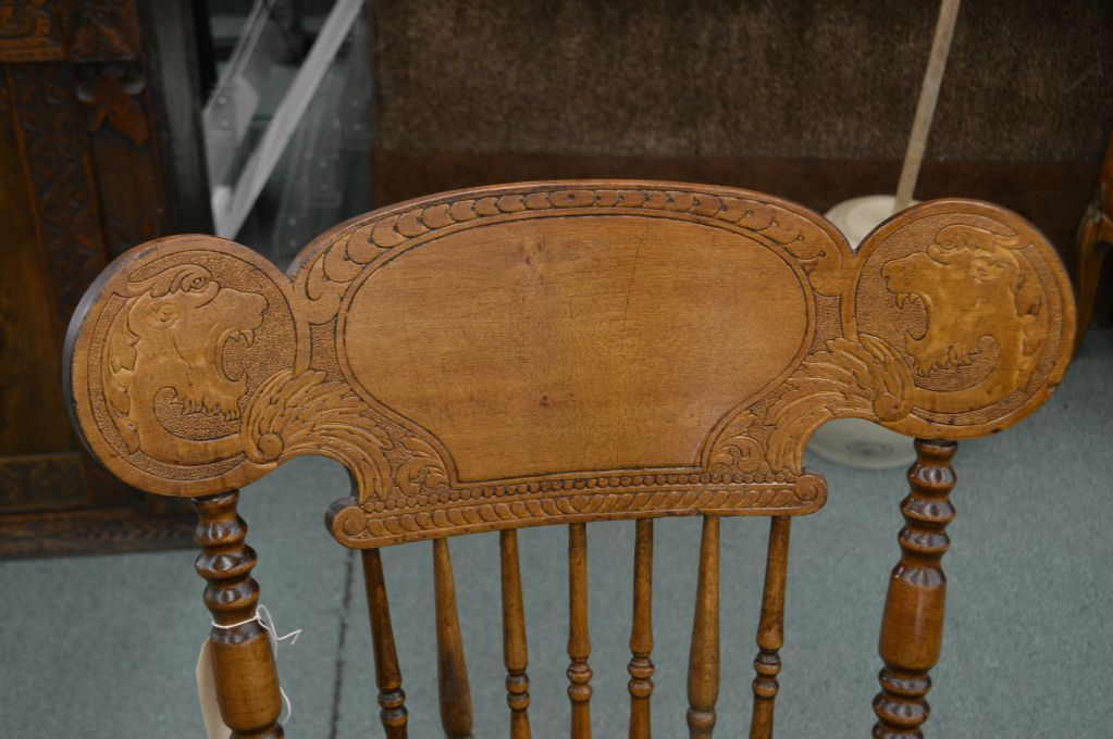 ... Image 2 : Antique pressed back rocking chair with double lion's head  decoration, spindle supports - Antique Pressed Back Rocking Chair With Double Lion's Head