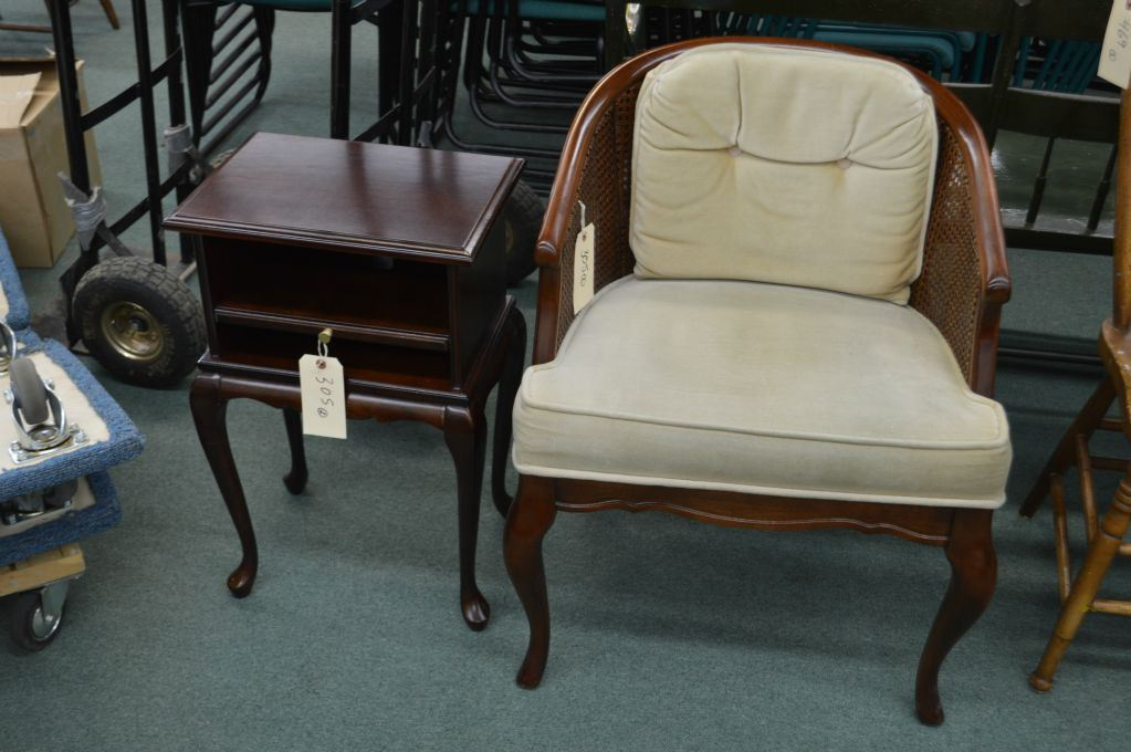 Small semi-contemporary telephone table and a tub chair with rattan ...
