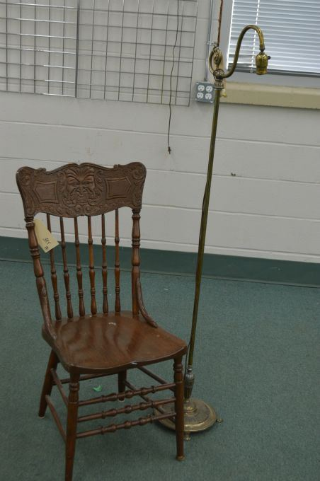 Image 1 : Antique Northwind pressed back side chair with spindle supports  and a vintage claw ... - Antique Northwind Pressed Back Side Chair With Spindle Supports And