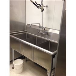Three Bay Sink with Sprayer Faucet