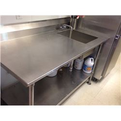 Stainless Steel Table 30x60 with one bay sink on right