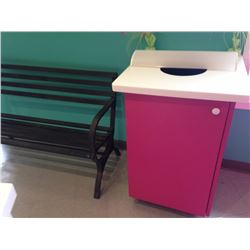 Trash Recepticle PINK with door and barrel inside