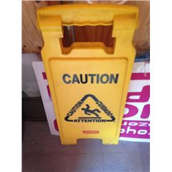 wet floor sign w/ bucket and mop