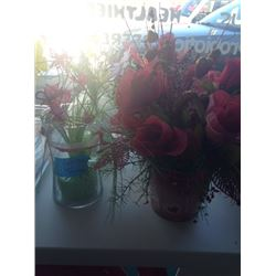 Two glass vases and two Red Flower Arrangement in tin can