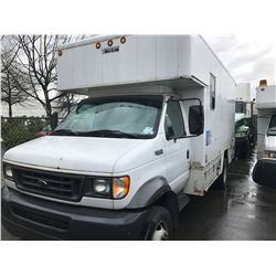 2002 FORD E-550 SUPER DUTY, CUBE VAN, WHITE, VIN # 1FDAE55S92HB41162