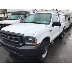 2003 FORD F-250 XL SUPERDUTY, 2 DOOR PU, WHITE, VIN # 1FTNF21LX3ED26324