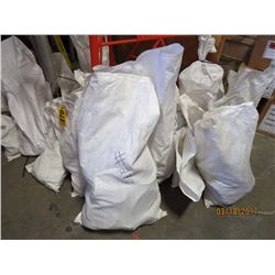 Approx 25 White Canvas Sacks & 4 Boxes - hangers, boots, grnd kits, ty wraps, concrete anchors, angl