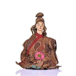 Antique Chinese Wood Opera Doll Handcrafted W