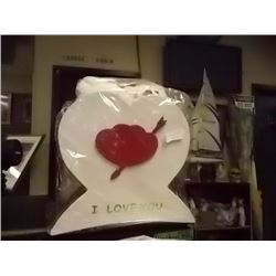"NEW TEDDY BEARS IN HEART BOX (11 X 12"" ) - I LOVE YOU - LARGE WITH 2 TEDDIES"