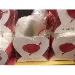 "NEW TEDDY BEAR IN HEART BOX 9 X 9"" ) - I LOVE YOU - MED. WITH 1 TEDDY"