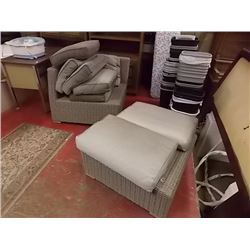 WICKER CORNER CHAIR & OTTOMAN