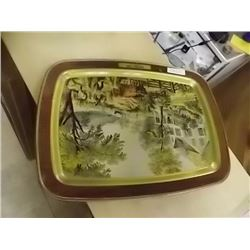VINTAGE TIN TRY - HARVEST TIME - CURRIER & IVES
