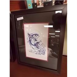 FRAMED FIRST NATIONS PRINT - RICHARD SHORTY - DOLPHINS