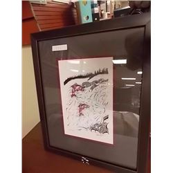 FRAMED FIRST NATIONS PRINT - RICHARD SHORTY - UP THE CREEK
