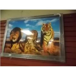 "FRAMED PRINT ON BOARD ""WILD CATS"