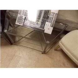 GLASS & METAL TV STAND ON CASTERS