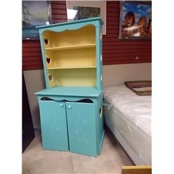 BEDROOM CHILD'S SHELF UNIT - PAINTED BLUE - DOORS NEED REATTACHING
