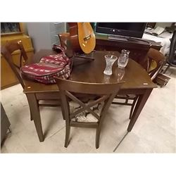 MAHOGANY DRAW LEAF TABLE & 4 MATCHING CHAIR