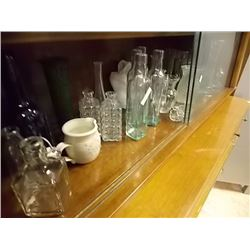 SHELF OF COLLECTIBLE BOTTLES & MORE