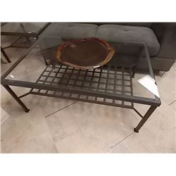 GLASS TOP METAL COFFEE TABLE - WITH LOWER SHELF