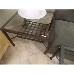GLASS TOP METAL END TABLE - WITH LOWER SHELF
