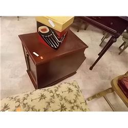 MAHOGANY SIDE TABLE WITH DOOR, PULL OUT TABLE AND MAGAZINE HOLDER
