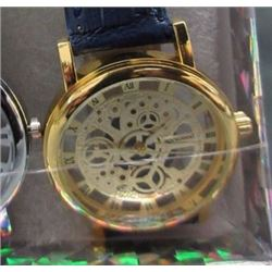 WATCH - NEW 2 SIDED SKELETON WATCH WITH LEATHER STRAP - WORKING- GOLD TONE