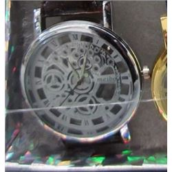 WATCH - NEW 2 SIDED SKELETON WATCH WITH LEATHER STRAP - WORKING - SILVER TONE