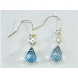 EARRINGS - 4.8CT BLUE TOPAZ & WHITE SAPPHIRE IN STAMPED 14K YELLOW GOLD DROP SETTING - HAND CRAFTED