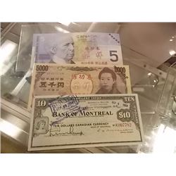 BILLS - 3 TTL - 1964 BANK NOTE - $5 CANADIAN & 1 ORIENTAL