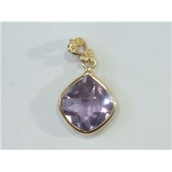 PENDANT - 1.7CT NATURAL AMETHYST IN 14K YELLOW GOLD SETTING - WITH CERTIFICATE $503